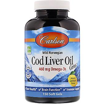 Carlson Labs, Wild Norwegian, Cod Liver Oil Gems, Natural Lemon Flavor, 460 mg,