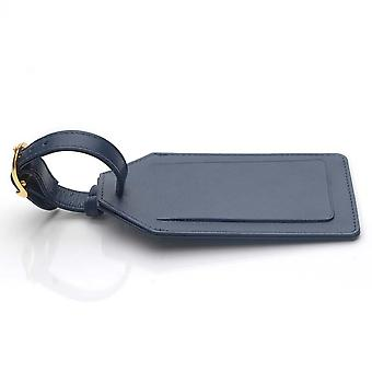 Navy Leather Luggage Tag in Oxford