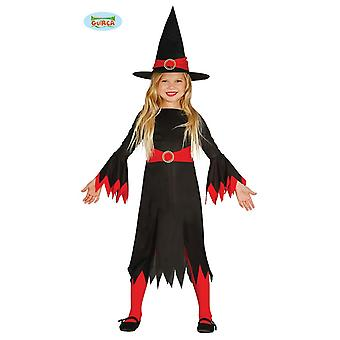 Long witch dress for girls Halloween costume kids black red witch dress witch costume