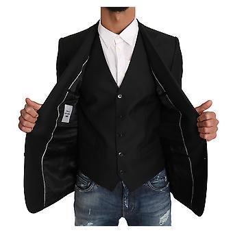 Dolce & Gabbana Blazer Vest 2 Piece Black Wool Martini KOS1197-1