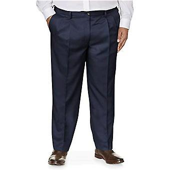 Essentials Herre's Big & Tall Classic-Fit Rynke-resistent plissert kjole bukse, marine, 44W x 30L