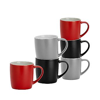 6 Piece Matt Tea and Coffee Mug Set - Modern Style Porcelain Cappuccino Latte Mugs - Black Red Grey - 350ml