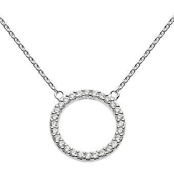 Dagg Sterling Silver Cubic zirconia öppen cirkel 18 halsband 9882CZ020