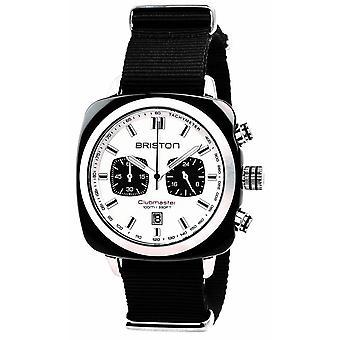 Briston Clubmaster Sport Acetate Chronograph Watch - Musta/Valkoinen/Teräs