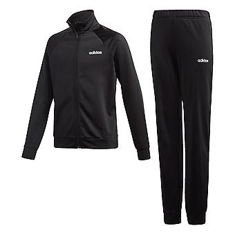 adidas Entry Junior Girls Full Zip Tracksuit Suit Outfit Set Black