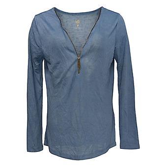 Belle by Kim Gravel Women's Sweater Sweater Jersey w/Zipper Blue 355036