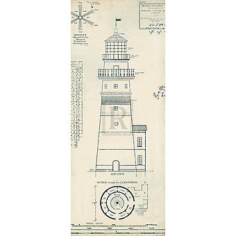 Lighthouse Plans III Poster Print by The Vintage Collection (8 x 20)
