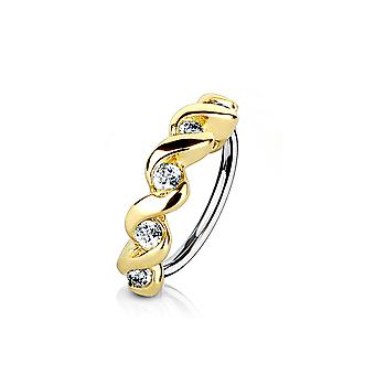 Nose and cartilage bendable hoop ring with cz twisted half circle top 18g or 20g