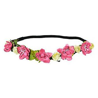 Flower HeadGarland Crown Perfect for Festivals|Weddings or Summer days, 2x Pink