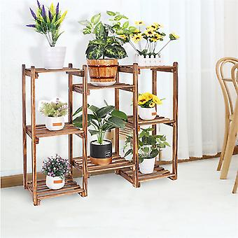 Multi-tier Stylish Bamboo Plant Stand Indoor Outdoor 10 Pot Bonsai Display Shelf