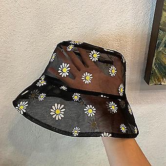 Gänseblümchen bestickt Eimer Hut, transparente Panama Frauen Spitze Blume Strand Mütze