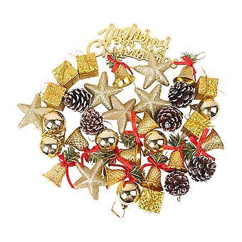 36pcs Gold Christmas Tree Ball Ornaments Hanging Set for Xmas Tree Holiday Party
