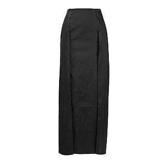 Zipper Back Box Pleat Taffeta Skirt