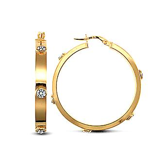 Jewelco London Ladies 9ct Yellow Gold White Round Brilliant Cubic Zirconia Square Tube 4mm Hoop Earrings 32mm