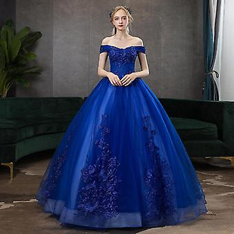 V-neck Ball Gown Vintage Lace Embroidery Dress