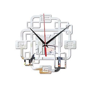 Acrylic creative superimposed rectangular combination mute clock mirror wall sticker wall clock home decor