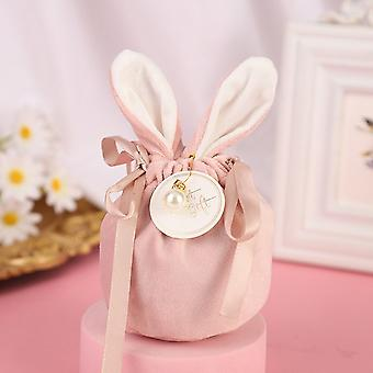 Easter Cute Bunny Gift Packing Bags Velvet Valentine's Day Rabbit Chocolate Candy Bags Wedding Birthday Party Jewelry Organizer
