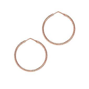 The Hoop Station Roma Diamond-Cut Rose Gold Plated 35 Mm Hoop Earrings H102R