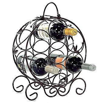 Staand rond wijnrek met wijn bladeren
