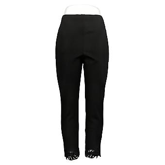 Kelly By Clinton Kelly Women's Pants Regular Ponte Ankle Lace Black A343674