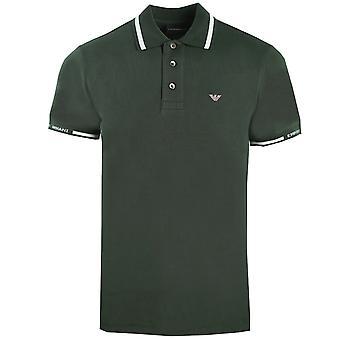 Emporio Armani Logo grün gekippt Polo Shirt