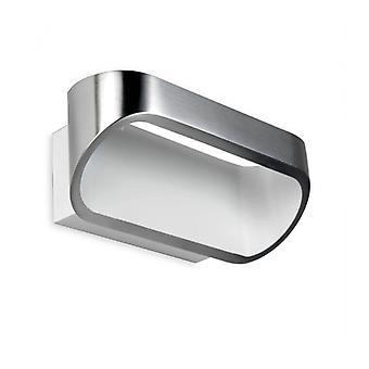 Aplique Led Ovalado, Alumiinio Cepillado Y Blanco Mate, 18 cm.