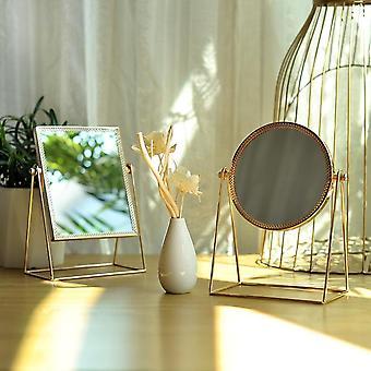 Макияж зеркало свет роскошный ретро европейский металл золото зеркало дома рабочего стола квадратный круглый зеркало общежития макияж зеркала