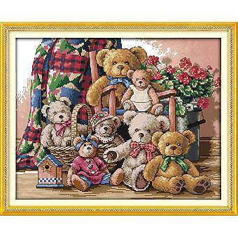 Amor eterno oso de Navidad familia algodón ecológico algodón chino cruz