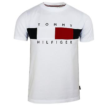 Tommy hilfiger men's white corp texture insert t-shirt