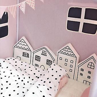 Para-choques de berço infantil, algodão nórdico, cerca de cama em forma de casa,