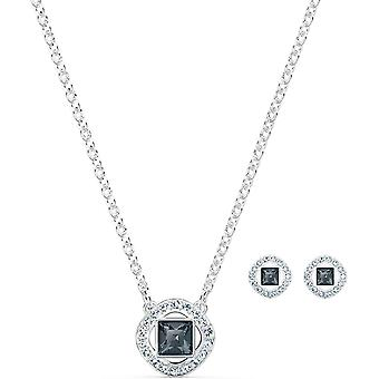 Swarovski Angelic Square Set, Rhodinierte Halskette und Ohrringe mit Funkelnden Schwarzen und Weien