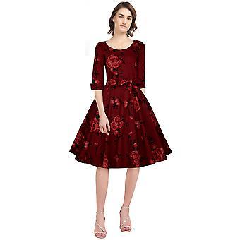 Chic Star Kurzarm Retro Kleid In rot/Floral