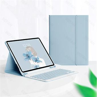 """ABEIFAN Keyboard Cover for iPad 10.2 """"(2019) - QWERTY Multifunction Keyboard Bluetooth Smart Cover Case Sleeve Blue"""