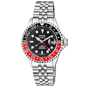 Gevril Men's Wall Street GMT BLK Dial BLK/RED Ceramic Bezel Stainless Steel Bracelet