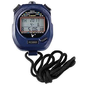 Tre rækker 60 minder rakte Sport Stopur med Nedtælling Alarm Pacer Time Temperature Display
