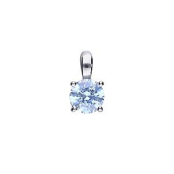 Diamonfire Mujer 925 Plata esterlina Rodio, Paladio &Platino Plateado Azul Claro Circonio Cúbico Redondo Solitario Collar Colgante de Longitud 40cm - 45cm