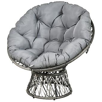 Outsunny 360° Swivel Rattan Papasan Moon Bowl Chair Round Lounge Garden Wicker Basket Seat with Padded Cushion Oversized for Outdoor Indoor