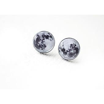 Curiology Full Moon Kvinders Fashion gotisk tilbehør Sølv Stud Øreringe