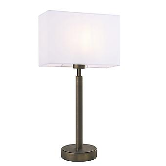 Table Lamp Antique Bronze Plate, Vintage White Fabric Rectangular Shade With Usb Socket
