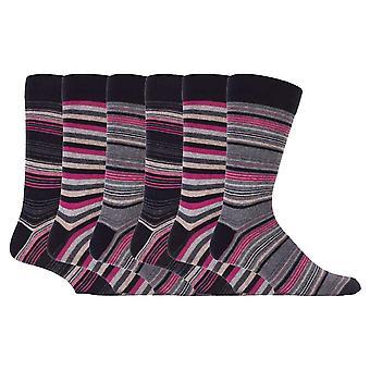 6 Pk mens listrado algodão rico meias de vestido casual