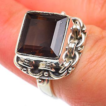 Smoky Quartz Ring Size 6.5 (925 Sterling Silver)  - Handmade Boho Vintage Jewelry RING66468