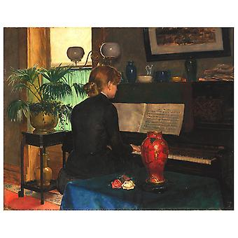 Lærred Print - Moment Musicale - Charles Frederic Ulrich - Wall Art Decor