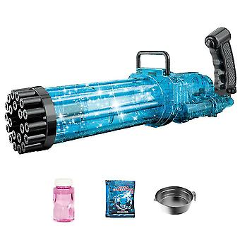 21-Hole Electric Gatling Bubble,Summer Outdoor Toys For Boys Girls(Blue)