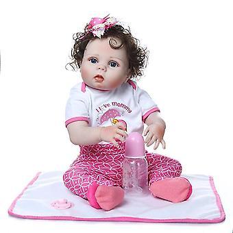 56Cm új teljes test slicone puha valódi érintés újjászületett kislány bebe baba újjászületett fürdő játék kézzel gyökerező göndör rost haj anatómiailag