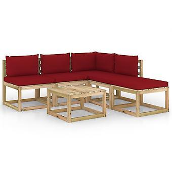 vidaXL 6-tlg. Garten-Lounge-Set mit Weinroten Kissen