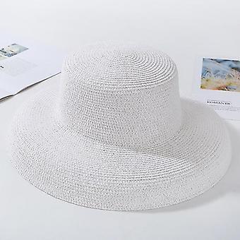 Elegant Wide Brim, Rotund Top Straw Beach Hat (Alb)