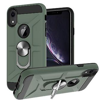 Case For Iphone Xs Max 6.5 Rotating Ring Kickstand Hockproof Impact Protection -green