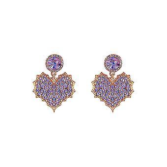 Ear Studs Purple Hearts Boucles d'oreilles jeweled Eardrops pour une utilisation quotidienne