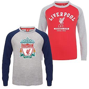 Liverpool FC Boys T-Shirt Long Sleeve Crest Raglan Kids OFFICIAL Football Gift