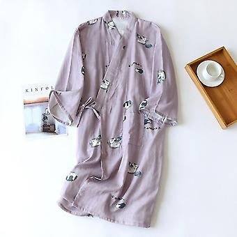 Spring And Summer Style Kimono Nightgown For Men And Women 100% Cotton